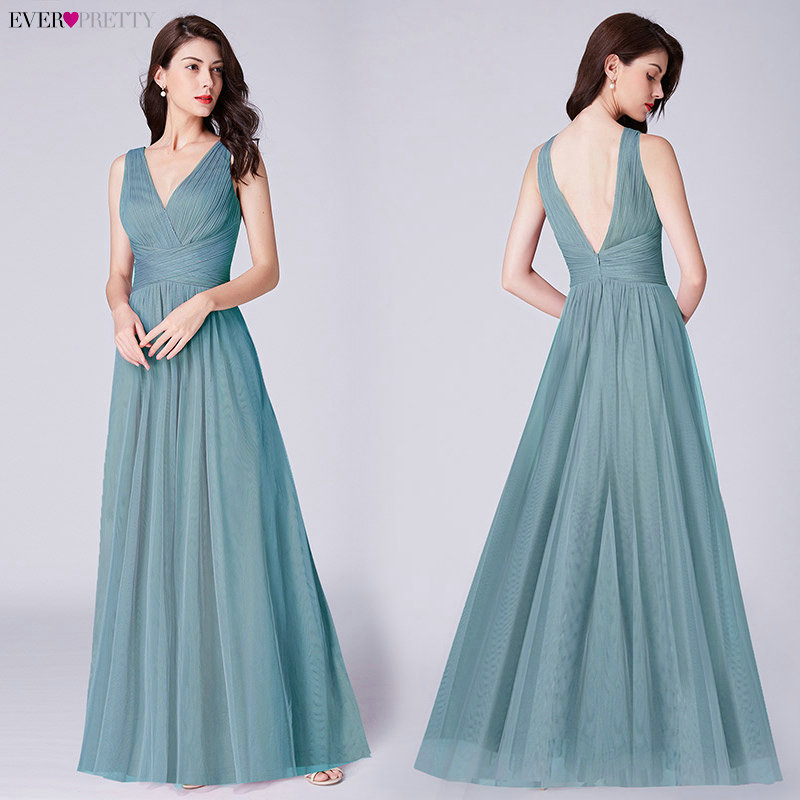 New Bridesmaids Dresses 2020 Ever Pretty EP07526OD Elegant A Line V Neck Long Tulle Pleated Wedding Party Gowns Robe Mousseline