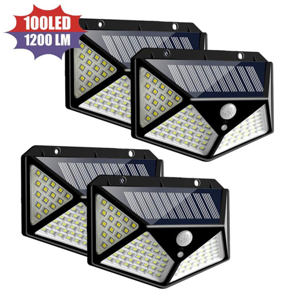 4pcs LED Solar Light Outdoor Waterproof 4-side Solar Powered Lamp 270 Degree PIR Motion Sensor Wall Light Garden Solar Light
