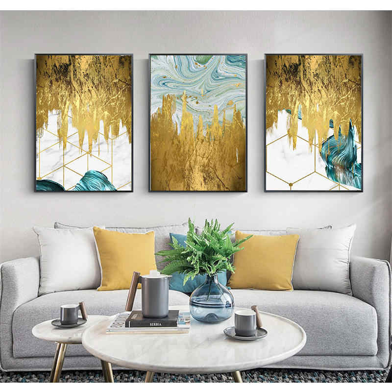 Gold Foil and Blue Paint Abstract Geometry Canvas Painting Poster Print Unique Decor Wall Art Pictures For Living Room Bedroom