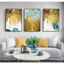 Gold Foil and Blue Paint Abstract Geometry Canvas Painting Poster Print Unique Decor Wall Art Pictures For Living Room Bedroom(China)