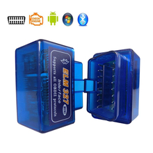 OBDII Blue Color Car Diagnostic Tool Wireless Mini Elm327 V2.1 Bluetooth 4.0 Android Scanner