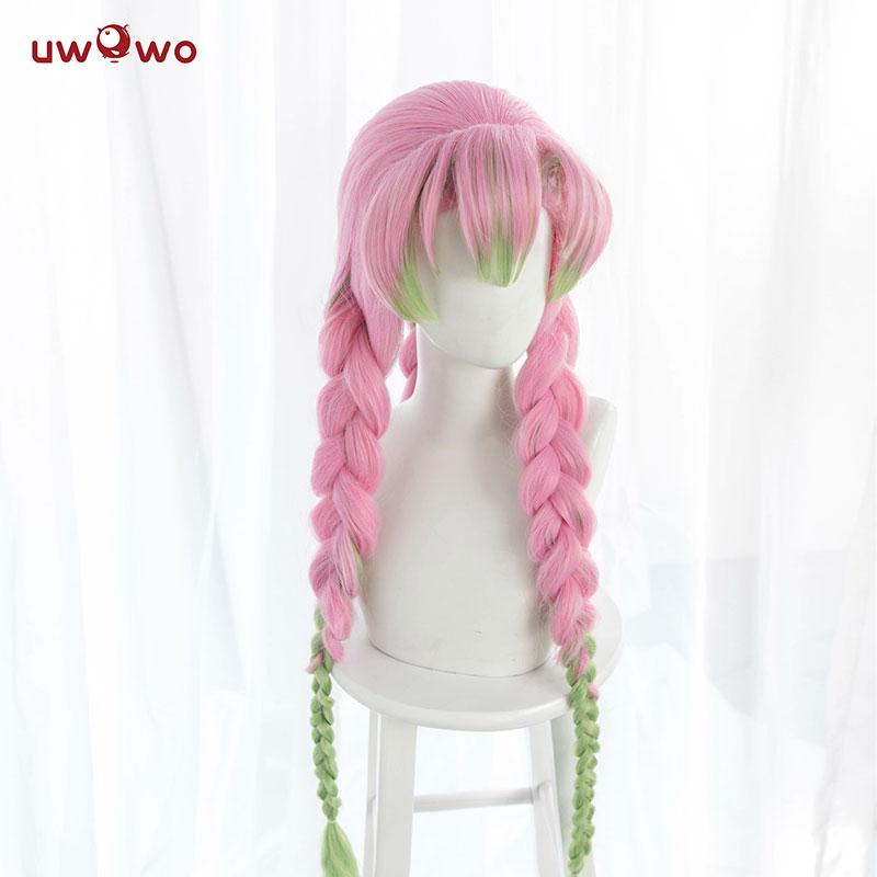 In Stock Uwowo Kanroji Mitsuri Wig Kimetsu No Yaiba Demon Slayer Cosplay Pink Synthetic Heat Resistant Hair Kanroji Mitsuri