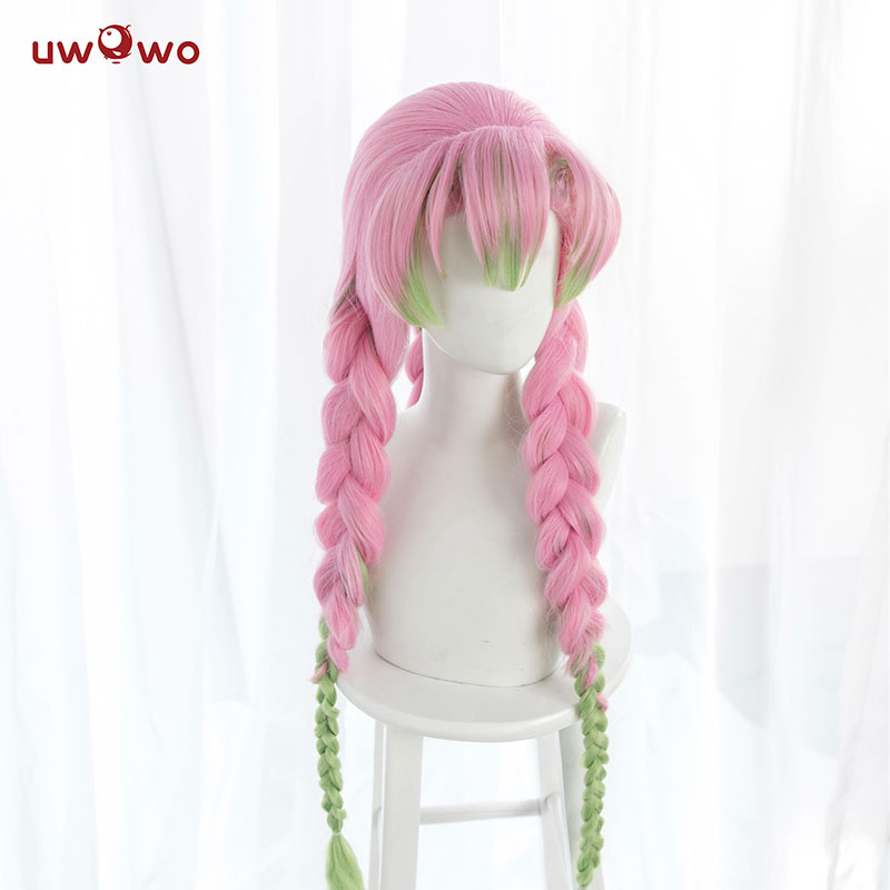 Pre-sale Uwowo Kanroji Mitsuri Wig Kimetsu No Yaiba Demon Slayer Cosplay Pink Synthetic Heat Resistant Hair Kanroji Mitsuri