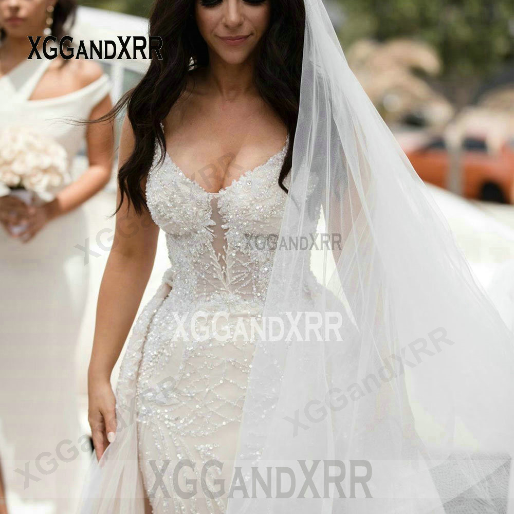 Luxury Mermaid Wedding Dress 2020 Bridal Gown Scalloped Beading Sequins Overskirt Long Train White Bride Dress Custom made