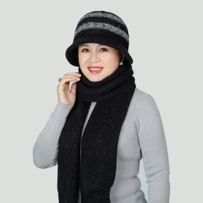 Nouveau Femmes Filles Tricot Fausse Fourrure Laine Cloche Chapeau et écharpe ensemble hiver chaud