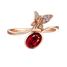 Elegant Female Oval Ruby Stone Adjustable Ring Fashion Sterling Silver Crystal Butterfly Ring Simple Engagement Rings For Women(China)