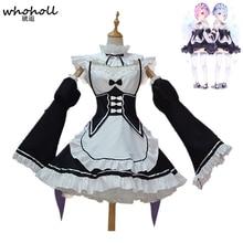 цена на Re Zero Kara Hajimeru Isekai Seikatsu Ramu Ram Remu Rem Maid Apron Dress Women Girls Outfit Uniform Anime Cosplay Costumes