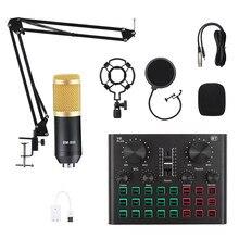 Mezclador de micrófono BM800, soporte para dj, transmisión en vivo, condensador, USB, inalámbrico, grabación profesional en vivo, tarjeta de sonido Bluetooth