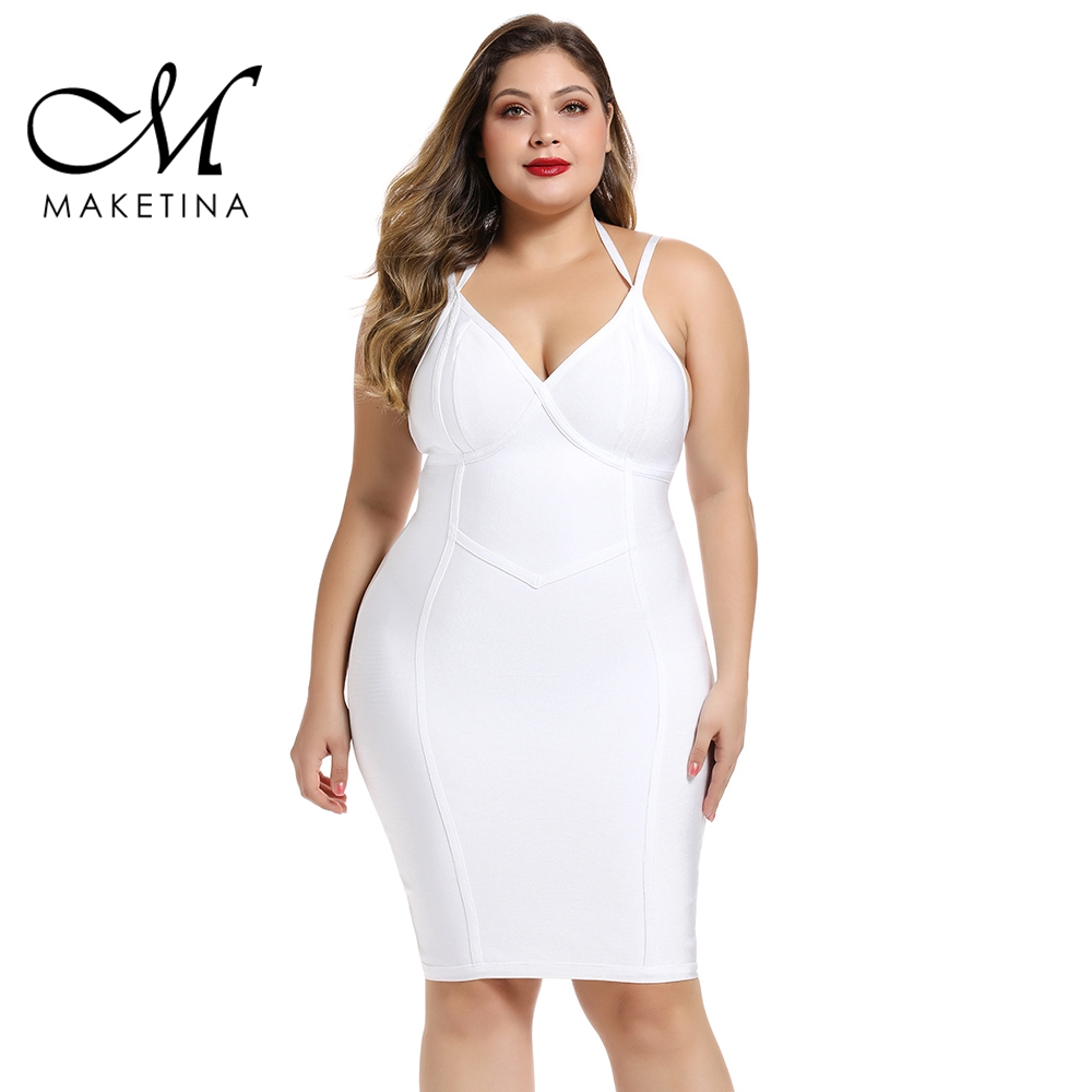 Maketina 2019 New Fashion Halter Plus Size Bandage Dress White Bandage Dresses For Women Sexy Club Party Plus Size Bodycon Dress