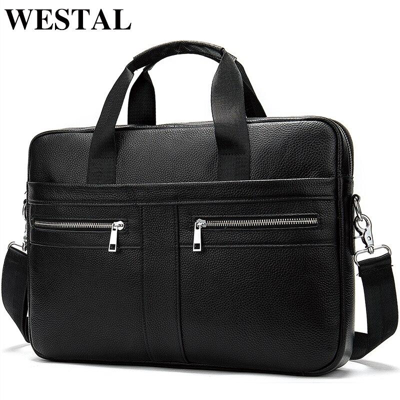 Sac WESTAL homme en cuir pochette d'ordinateur homme porte-documents sac à main homme en cuir véritable/sac à bandoulière sac d'ordinateur de bureau pour hommes 2019