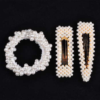 14 Colors Woman Elegant Pearl Hair Ties Beads Girls Scrunchies Rubber Bands Ponytail Holders Hair Accessories Elastic Hair Band 23