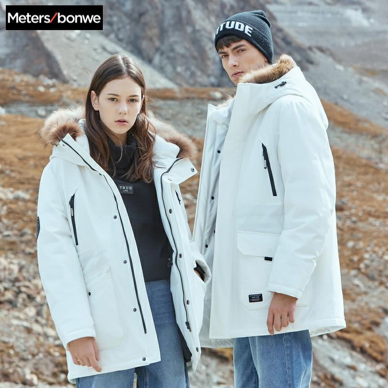 Metersbonwe Couples hommes Parkas doudoune avec fourrure de noisette moyen duvet de canard Long manteau chaud escalade Parkas vêtements manteau de neige