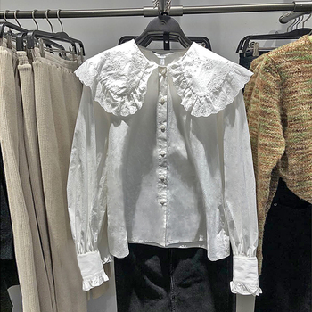 Lamtrip 2021 Spring Hook Hollow Out Lace Layers Peter Pan Collar Cotton Long Sleeve Shirt Blouse Camisa 1