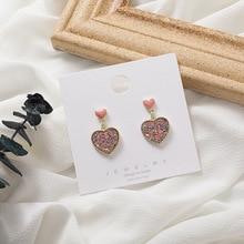 Korean Bling Bling Glitter Heart Earrings for Women Sweet Gold Color Metal Love Heart Statement Drop Dangle Big Earrings Jewelry недорого