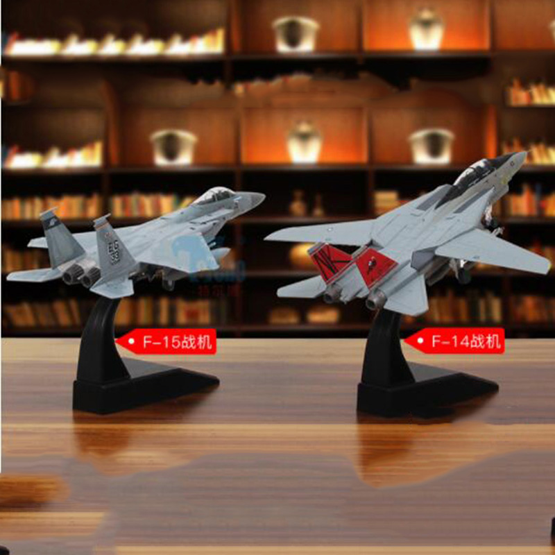 U.S. 1/100 Scale Grumman F-14/F15 Tomcat Diecast <font><b>aircraft</b></font> American Navy Alloy With base plane fighter <font><b>model</b></font> Kids For collection image