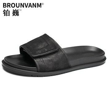 fender summer men genuine leather slippers all-match cowhide Flip Flops casual Shoes beach outdoor anti-skid mens slide sandals