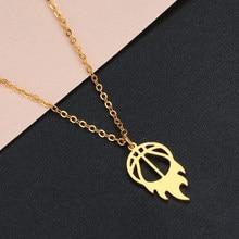 Chereda fogo redondo basquete pingente colar do esporte vintage aptidão jóias acessórios de aço inoxidável bola colares