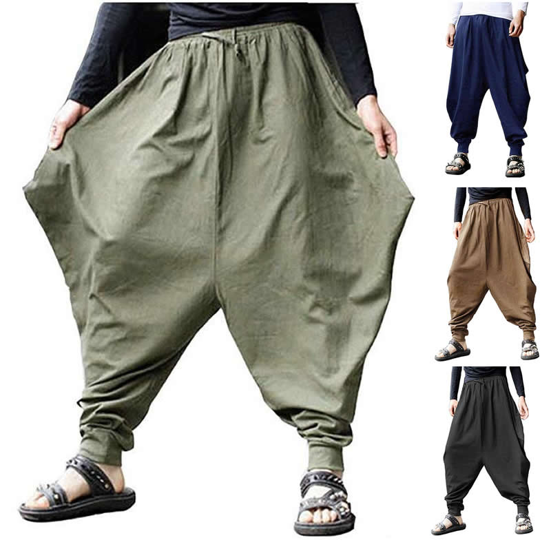 Plus Size Cotton Linen Harem Pants Men Baggy Japanese Style Joggers Mens Hip Hop Crotch Wide Leg Pants Casual Loose Trousers