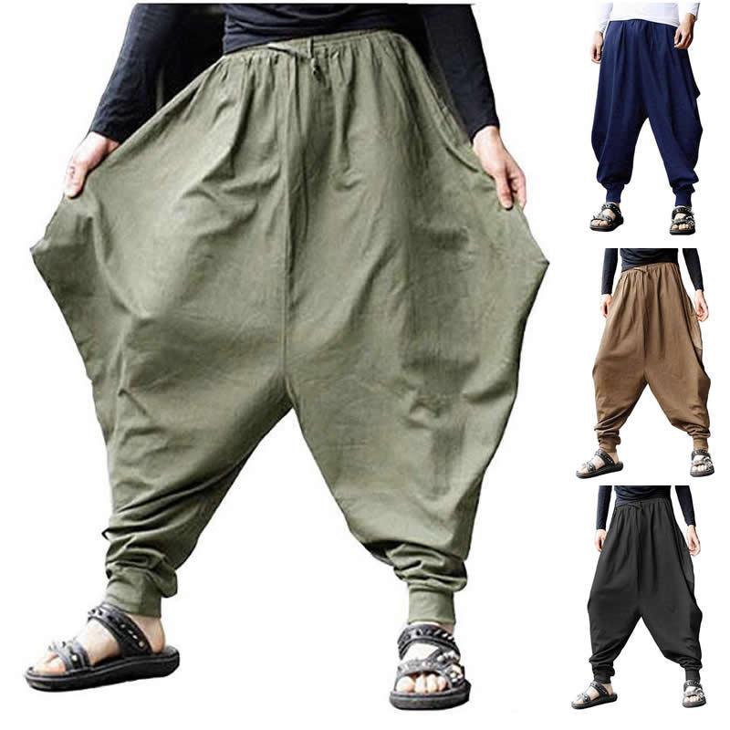 Plus Size Cotton Linen Harem Pants Men Baggy Japanese Style Joggers Mens Hip Hop Crotch Wide Leg Pants Casual Loose Trousers