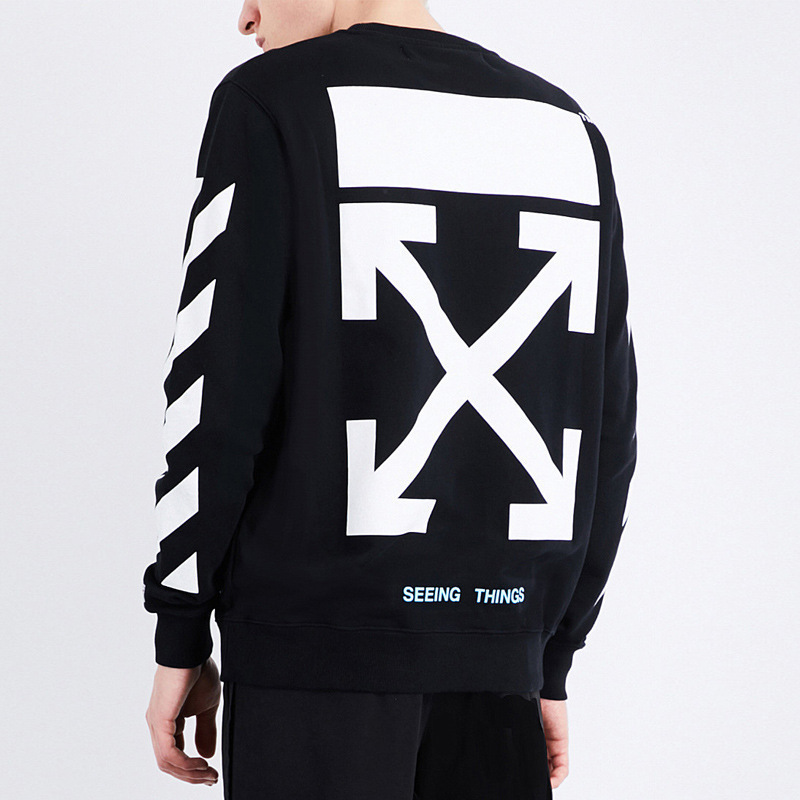 Europe And America Popular Brand Offwhite Slash Speed Bump Printing Plus Velvet Couples Men And Women Casual Crew Neck Pullover