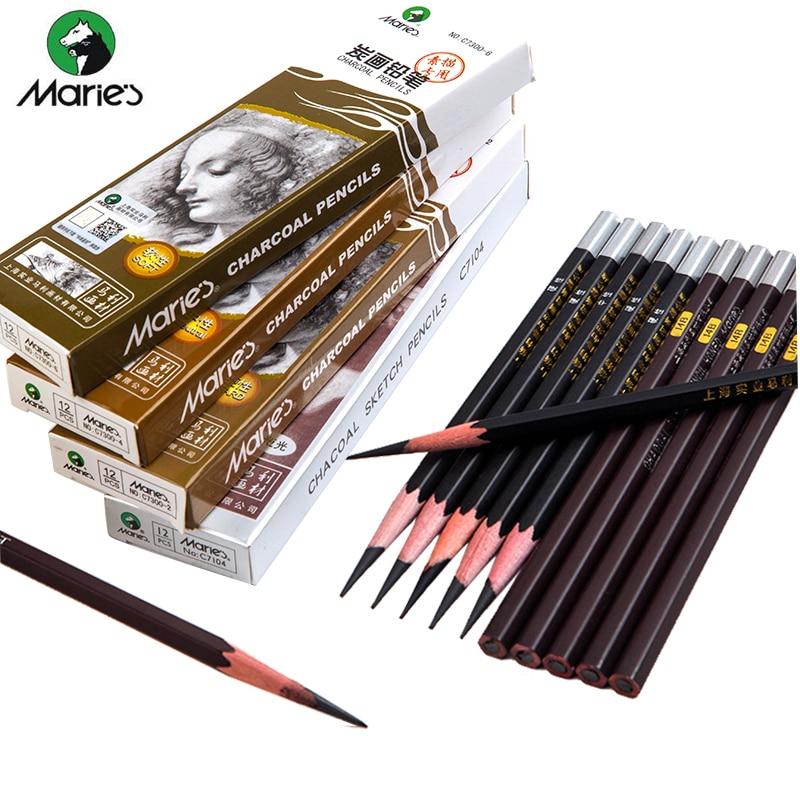 Maries, мягкий средний жесткий черный карандаш с древесным углем для искусственной живописи, офисные и школьные канцелярские принадлежности