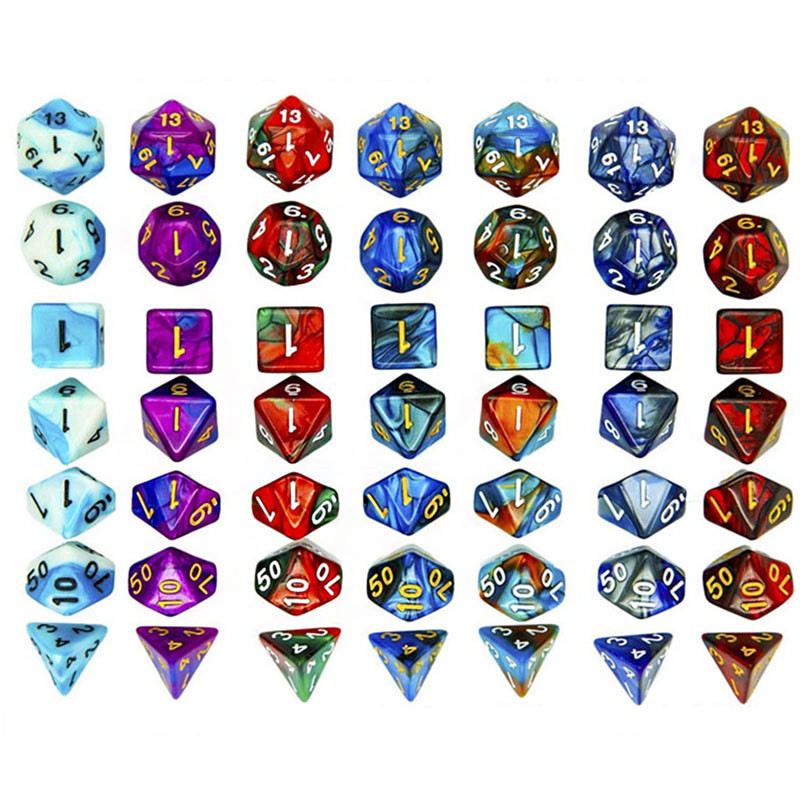 7pcs/set DND Polyhedral Dice For RPG Dungeons And Dragons Board Games Mixed Color Dice Gambling Entertainment Accessories