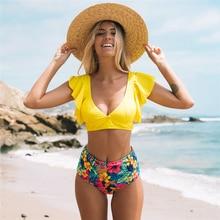 Купальный костюм из двух частей, купальный костюм, женский комплект бикини, новинка, Цветочный бикини с высокой талией, пуш-ап, купальный костюм, пляжная одежда, купальный костюм с оборками