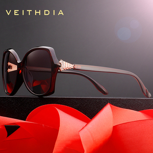 Image 3 - VEITHDIA רטרו נשים משקפיים שמש מקוטב יוקרה קריסטל גבירותיי מותג מעצב משקפי שמש Eyewear לנשים נשי V3027