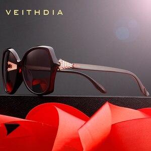Image 3 - Veithdia óculos de sol feminino polarizado, óculos de sol retrô feminino, polarizado, de luxo, com cristal v3027