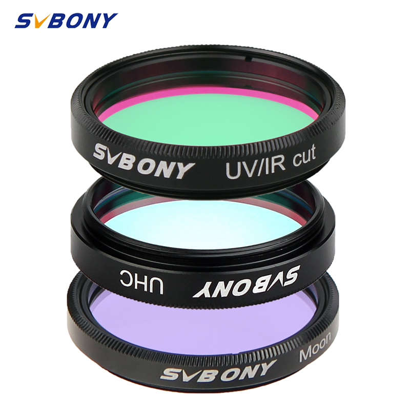 SVBONY 1.25'' MOON + UV-IR+UHC 3 Pcs Elimination Of Light Pollution Filters For Astronomy Telescope Eyepiece Observations Of Dee