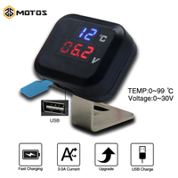 ZS MOTOS universales KOSO  voltímetro de motocicleta  indicador de tensión de pantalla de temperatura  engranaje con pantalla de carga USB  indicador de marchas