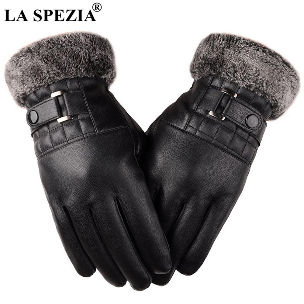 LA SPEZIA Winter Gloves Black Mens Leather Gloves Touch Screen Pu Leather Fur Warm Thick Driving Men's Gloves Guantes Luvas