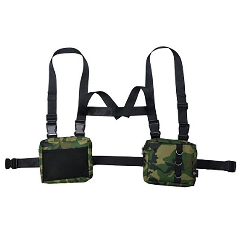 Модная тактическая сумка-ремень из ткани Оксфорд в стиле хип-хоп, унисекс, с двумя карманами, функциональная тактическая сумка-жилет