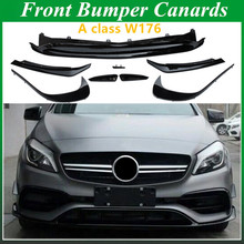 ABS Front Bumper Lip Splitter Canards 8 Piece for Mercedes A CLASS W176 Sports and A45 AMG