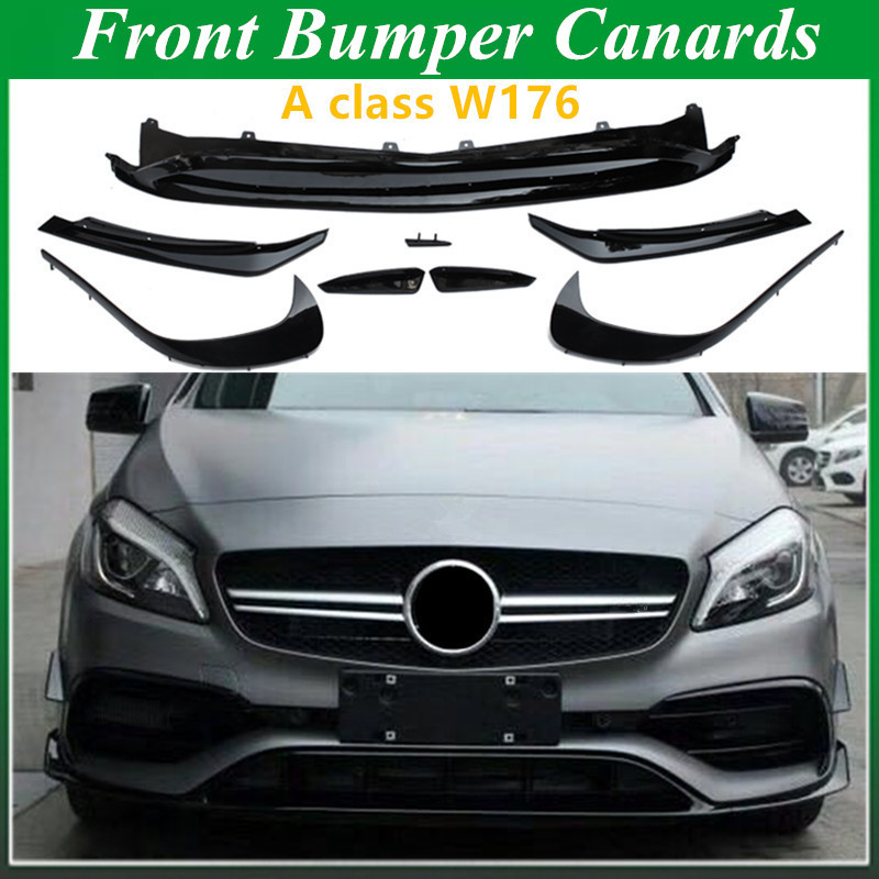ABS Front Bumper Lip Splitter Canards 8 Piece for <font><b>Mercedes</b></font> A CLASS W176 Sports and A45 AMG image