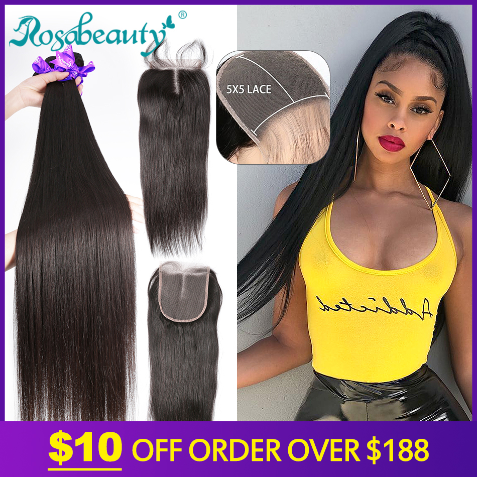 Rosabeauty 28 30 40 Inch Brazilian Weave Bundles Natural Color Straight 3 4 Bundles With 5X5 Lace Closure Remy Human Hair And