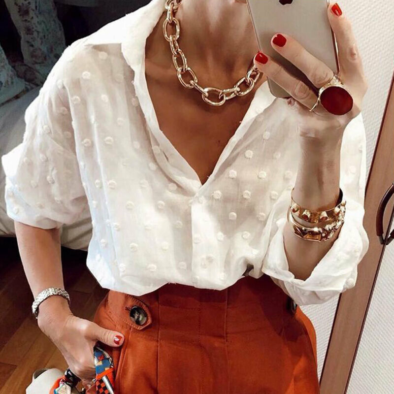Women Streetwear  Polka Dot OL Shirt Tops Ladies Long Sleeve Loose Beach Cover White Blouse Plus Size S-2XL