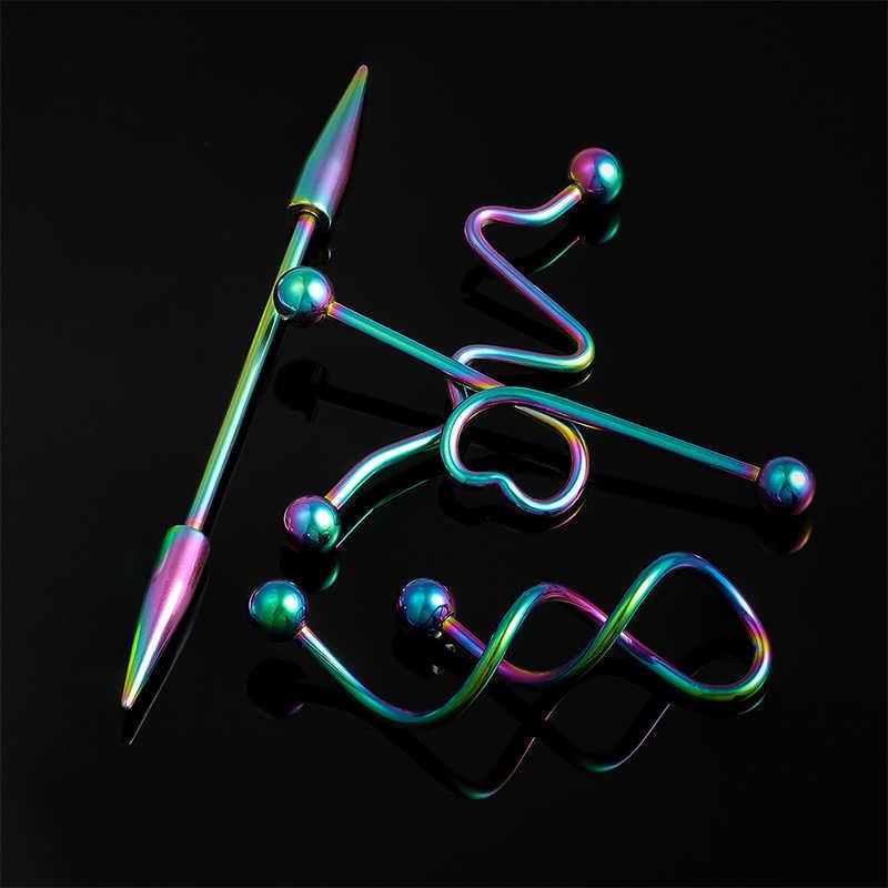 4PCS סט נירוסטה התעשייתי רבל סחוס עגיל לב טוויסט Helix אוזן Tragus טבעות נשים גברים גוף פירסינג תכשיטים