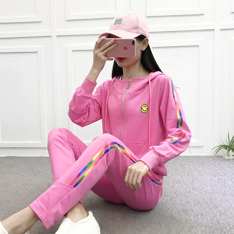 Sports WOMEN'S Suit Spring And Autumn Colorful Webbing Hooded Casual Sweatshirt Two-Piece Set Team Clothing Customizable Logo Pr