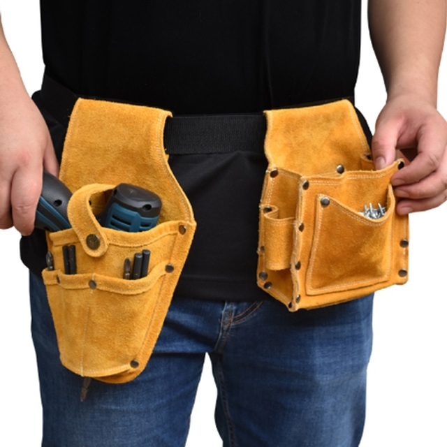 Cowhide Wearable Waist Pack Electric Drill Bag Screws Nails Drill Bit Metal Parts Fishing Travel Tool Storage Bags with Belt