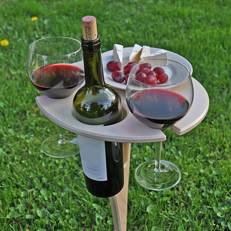 Outdoor Wine Table with Foldable Round Desktop Mini Wooden Picnic Table Easy To Carry Wine Rack Dropshipping