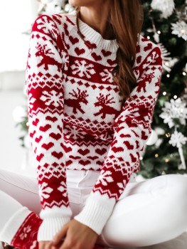 Hot Christmas Women Sweater Santa Claus Xmas Printing Long Sleeve O-neck Christmas Knitting Pullover Sweater Top Jumper Knitwear korean fashion ladies full sleeve women knitting sweater solid o neck pullover and jumper loose sweater hot sale s80209q