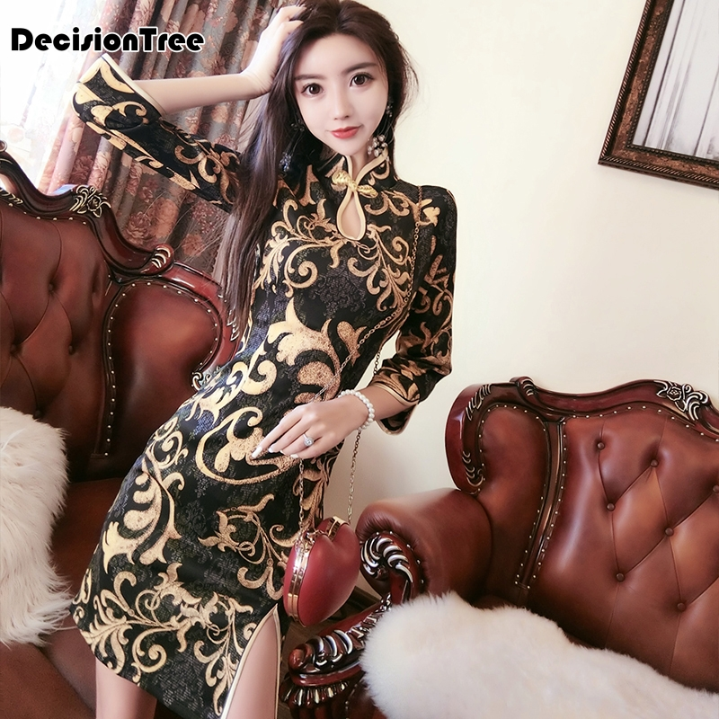 2020 Chinese Dress Women Elegant Qipao Dress Side Split Hollow Out Qipao Oriental Style Lady Evening Party Cheongsam Sexy Dress