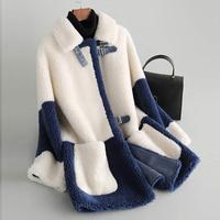 100% lamb fur hair women's 2019 winter new grain cashmere coat female Haining sheep shearing
