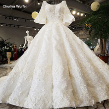 LS92104 2018 Luxury wedding dress o-neck lantern sleeve  ball gown lace up Handwork eleganbridal gowns real as photos