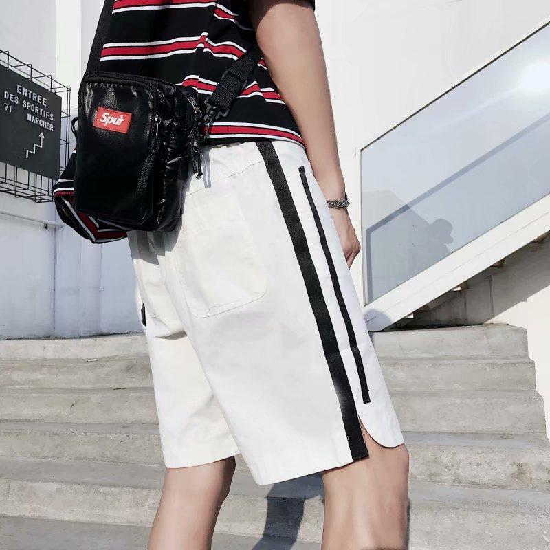 Stripes Pants Men's Hong Ventilation Network Red Shorts Korean-style Trend 2019 Fashion Versatile Summer INS Super Fire Casual P
