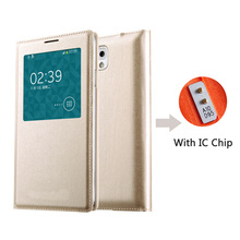 цена на Smart View  Flip Leather With Chip Phone Case For Samsung Galaxy Note 3 Note3 Not III SM N900 N9000 N9005 SM-N900 SM-N9005 Cover