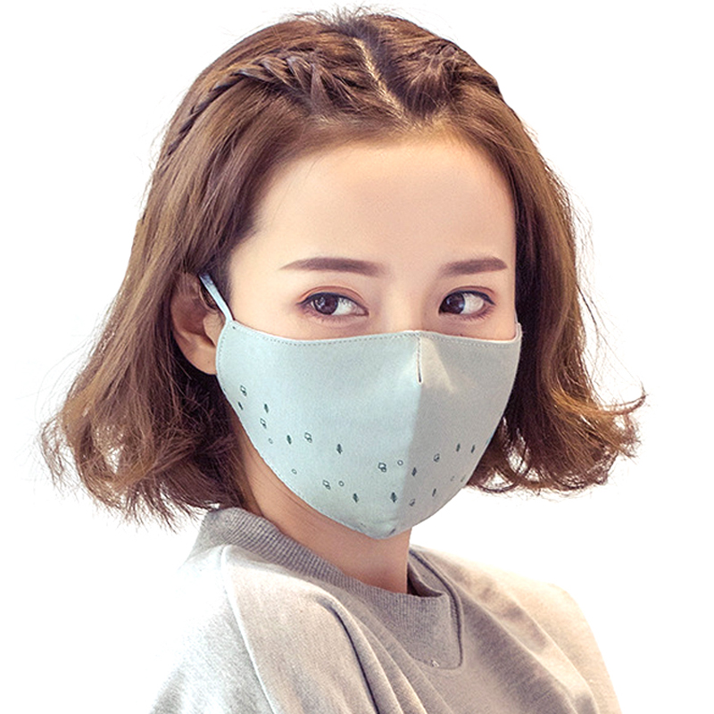 Mouth Mask Cotton Winter Fashion Happy Day Print Face Mask For Women Anti-dust Breathable Cotton Mouth Mask