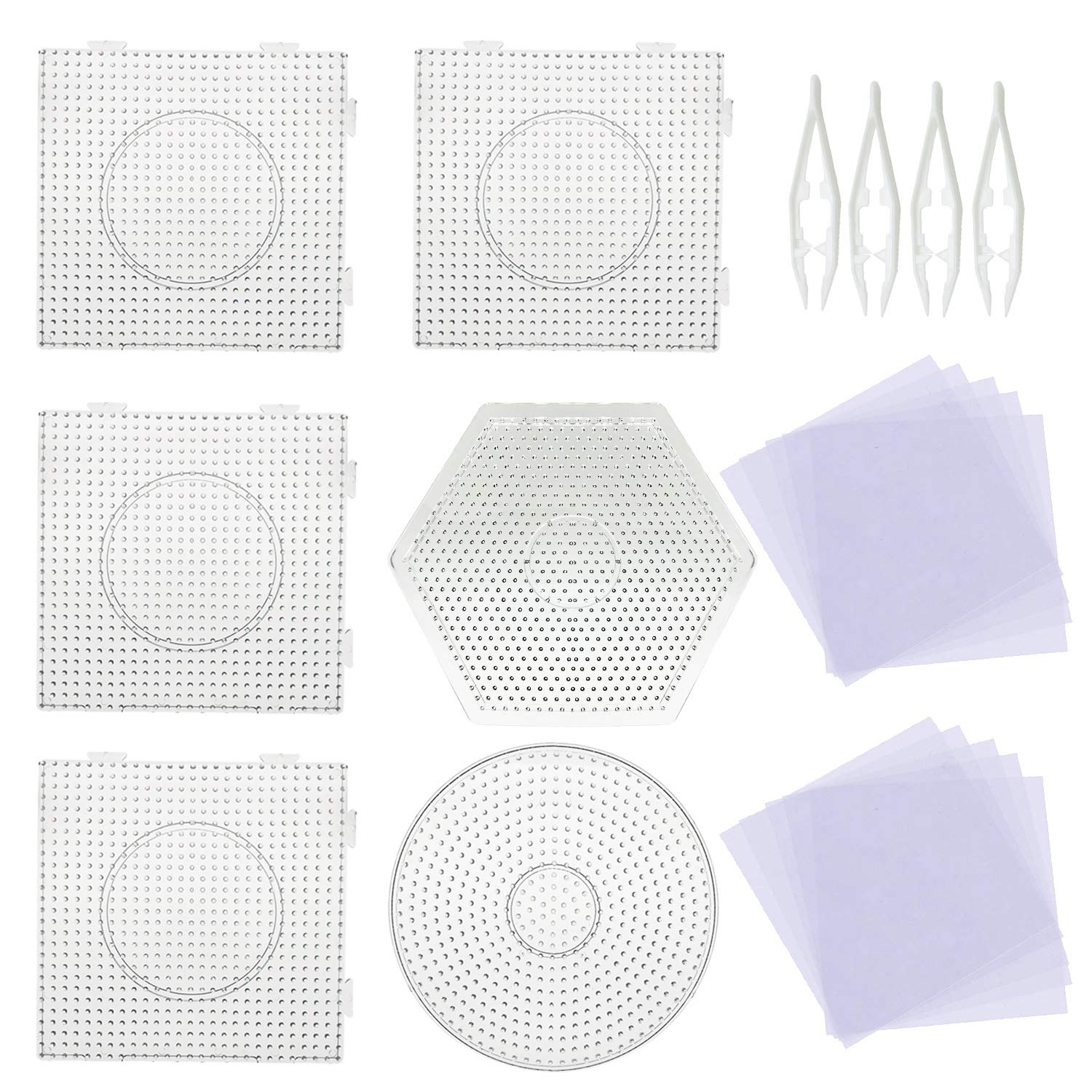 5mm 6Pcs Fuse Beads Boards Large Round Square  Pegboards 4Pcs White Beads Tweezers, 20Pcs Ironing Paper For Kids Craft Supplies