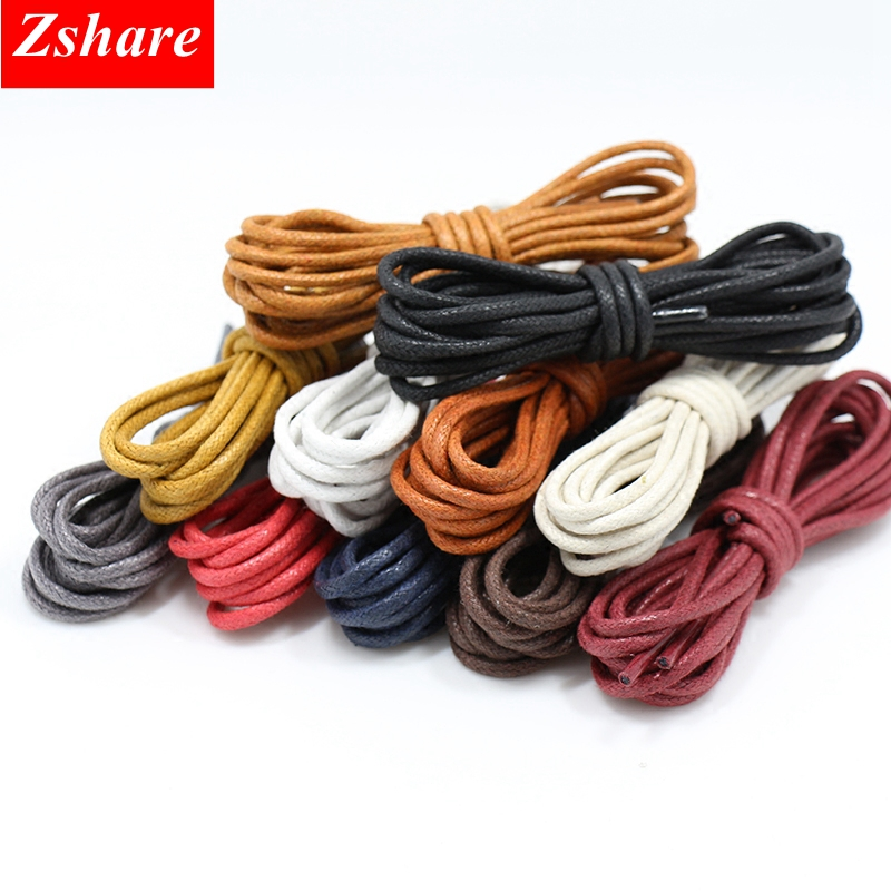1 Pair Cotton Waxed Shoelaces Round Leather Waterproof Shoe Laces Martin Boots Shoelace 12 Colors Shoestring 80 100 120 140CM P2